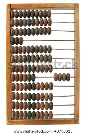 Retro abacus, isolated on white - stock photo