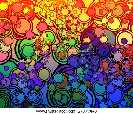 Retro abstract psychedelic multicolored circle pattern design - stock photo