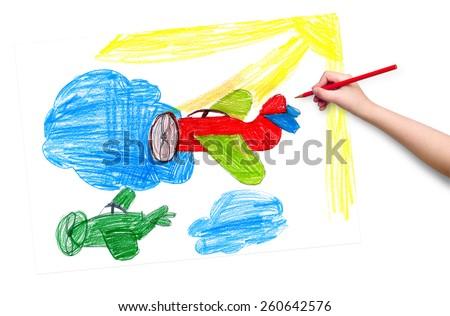 retro airplanes. children drawing - stock photo