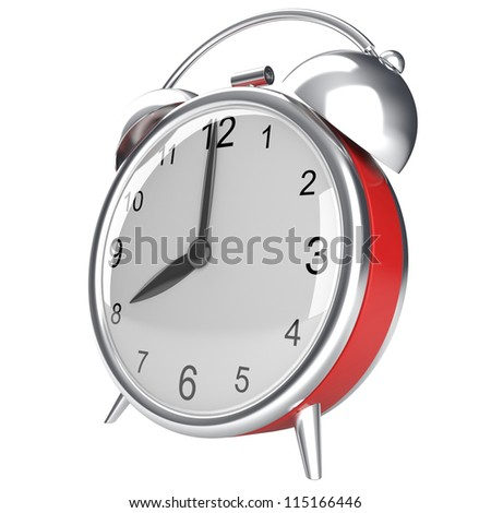 Retro alarm clock. 3d render isolated on white background - stock photo