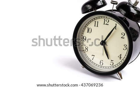 Retro alarm clock on white background,Clock concept background,clock with copy-space,Five o'clock and five minute - stock photo