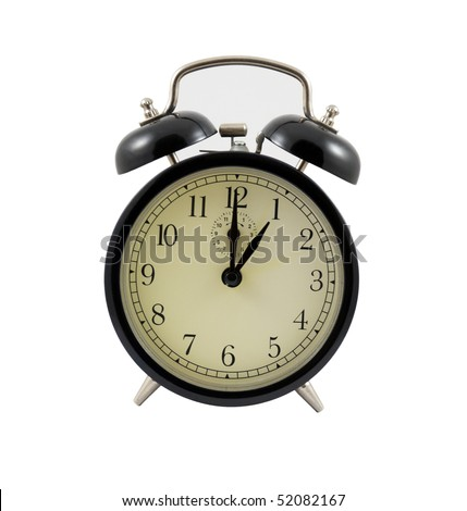 Retro alarm clock showing one hour isolated on a white background