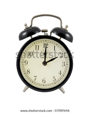 Retro alarm clock showing two hours isolated on a white background - stock photo