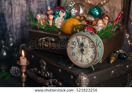 Retro Alarm Clock, Vintage Leather Suitcases, Old Fashioned Christmas Tree Decorations, copy space for your text