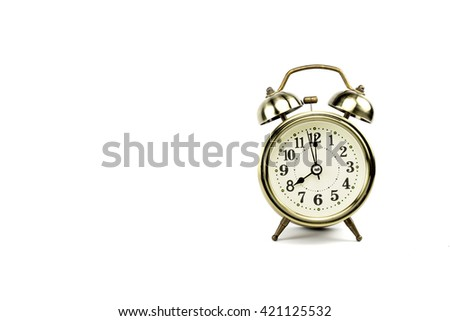 Retro alarm, Either the clock start at 8 am or 8 pm, depends on what it fits for ur concept. free space for your text here - stock photo