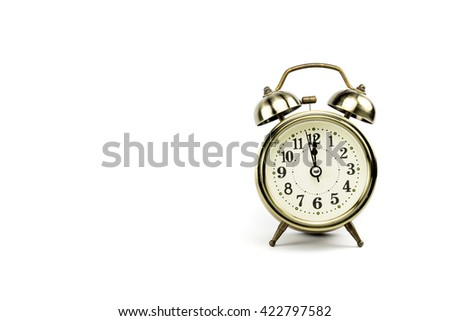 Retro alarm, Either the clock start at 12 am or 12 pm, depends on what it fits for ur concept. free space for your text here - stock photo