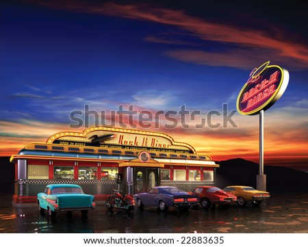 Retro American diner at dusk - stock photo