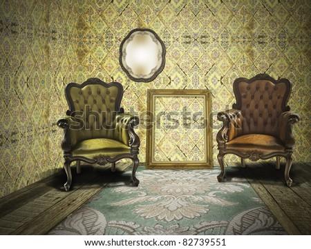 Retro and vintage room interior - stock photo