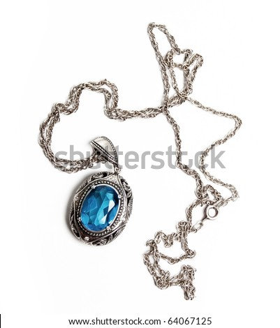 retro antiques pendant (isolated on a white) - stock photo