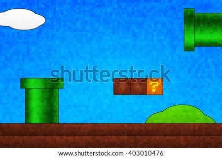 Retro Arcade Game Screen Background - stock photo