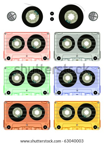 retro audio cassette set against white background, abstract art illustration; for vector format please visit my gallery
