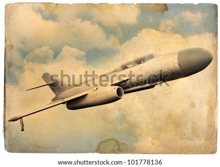 Retro aviation, old jet fighter - stock photo