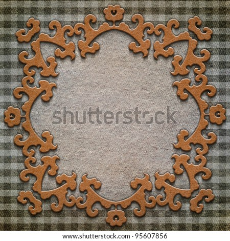 Retro background. Old greeting card with fabric - stock photo