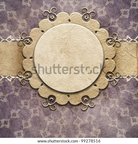 Retro background. Old paper greeting card - stock photo