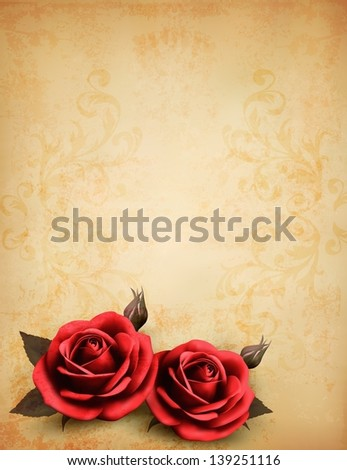 Retro background with beautiful red roses with buds. Raster version of vector.
