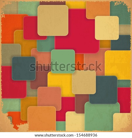 Retro Background with Colored Squares in Vintage Style. JPEG version