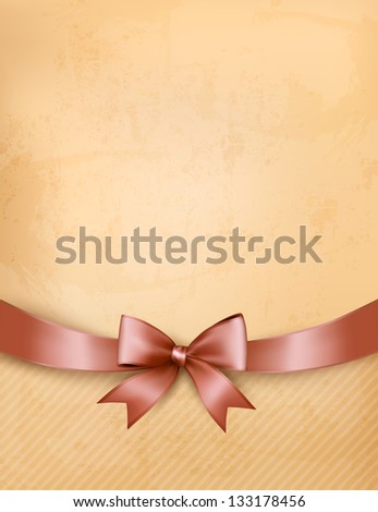 Retro background with old paper and gift bow and ribbon. - stock photo