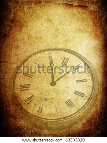 Retro background with old pocket watch. Old paper texture, vintage burned background for text or image. Retro scratched surface