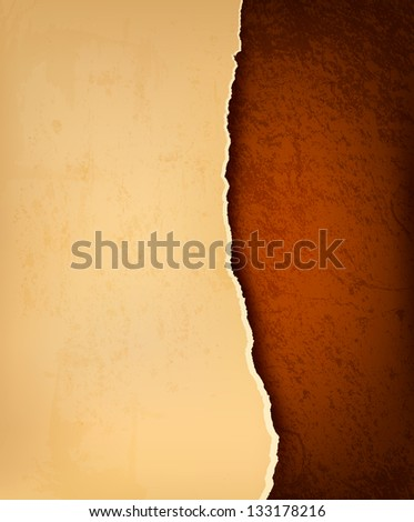 Retro background with old ripped paper and brown leather.  Raster version - stock photo