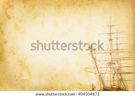 Retro background with tall ship at old paper. Sea voyage in vintage style. Sailing vessel with copy-space for your text. Ancient sailboat on grunge background. Historic three-masted sailing ship. - stock photo