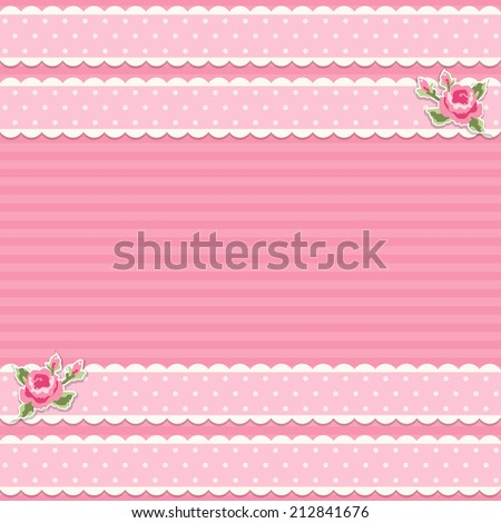 Retro background with textile ribbons and roses in shabby chic style