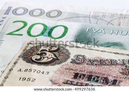Retro bank notes 5, 200 and 1000 SEK swedish currency. They are not valid anymore