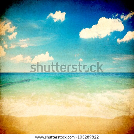 Retro beach and blue sky for summer background - stock photo