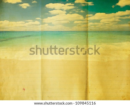 Retro beach with grunge paper line - stock photo