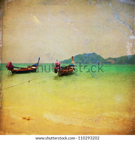 Retro beach with long Tail boat for background - stock photo