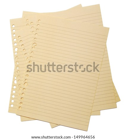 retro binder paper on the isolated over white background