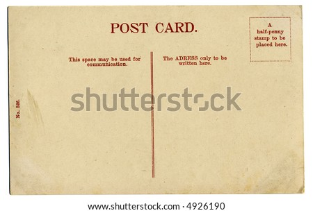 retro blank postcard, isolated on white