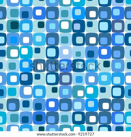 Retro blue square pattern, tiles in any direction. - stock photo