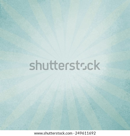 retro blue sunburst background in soft baby blue color, vintage radial starburst design in faded blue - stock photo