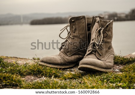 Retro boots. - stock photo