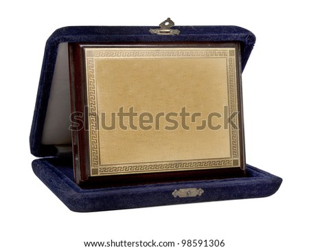 Retro brass plaquette isolated on white background - stock photo