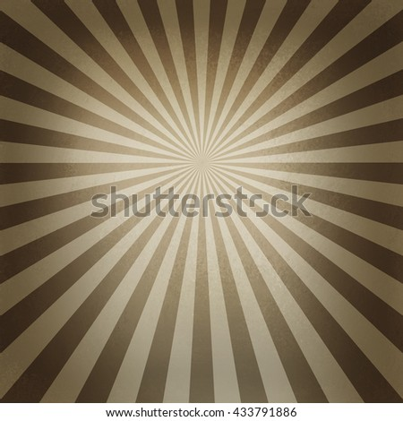 retro brown and beige starburst pattern, old abstract background design, radial lines with bright center and dark border - stock photo