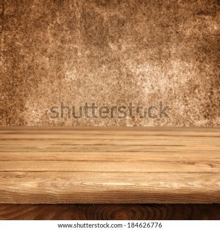 retro brown desk and wall  - stock photo