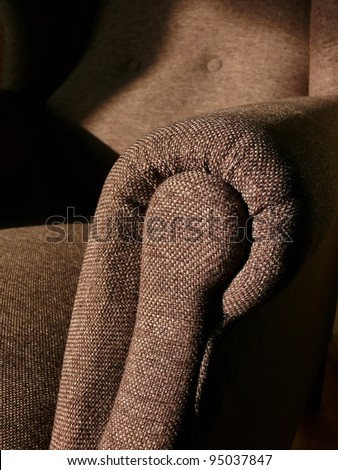 Retro, brown, elegant armchair upholstery details. Good for upholstery, interior or lifestyle designs. More of this motif and more textiles in my port. - stock photo