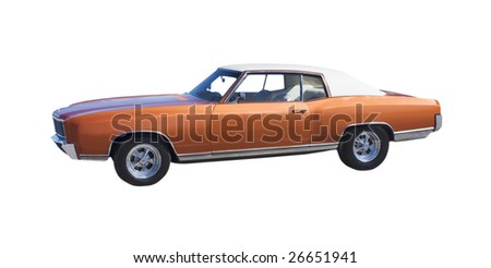 retro brown muscle car with white vinyl top - stock photo