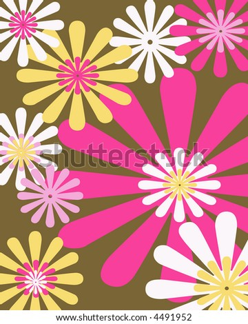 Retro brown, pink and yellow floral background