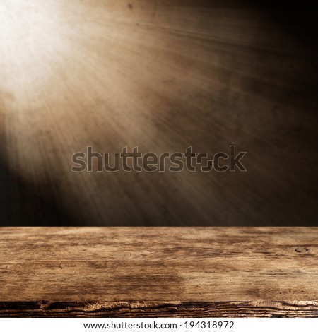 retro brown table with wall of light of lamp and space for you  - stock photo
