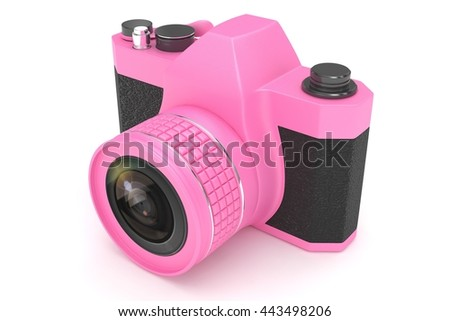Retro camera isolated on  white background. 3d rendering. - stock photo