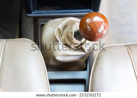 Retro car gearbox lever; Manual transmission - stock photo