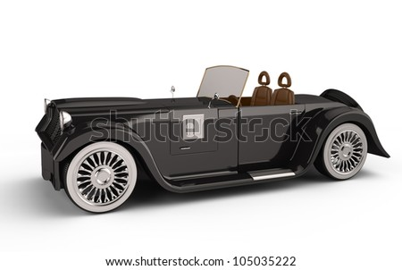 retro car isolated on white background. 3d rendered image. my own design