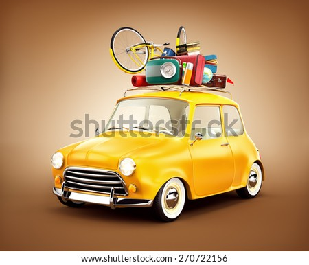 Retro car with luggage. Unusual  travel illustration. Traveling by the car - stock photo