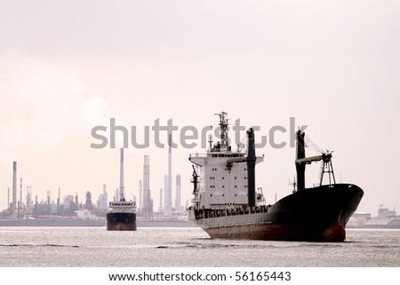 Retro Cargo Ship - stock photo