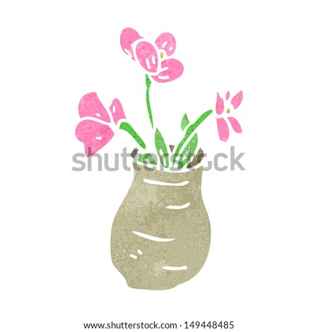 Retro Cartoon Flowers Vase Stock Illustration 149448485 Shutterstock