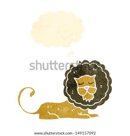 retro cartoon lion - stock photo