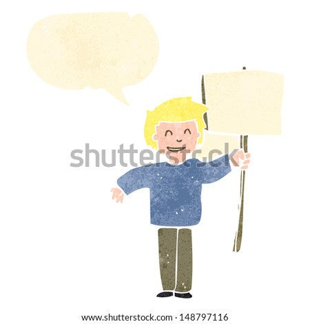 young man standing holding a white blank card on isolated