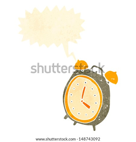 retro cartoon ringing alarm clock - stock photo